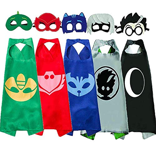 Costumes and Dress up for Kids - Superhero Catboy Owlette Gekko Cloak and Masks Pajama Hero Party and Birthday Present (5 pcs) ()