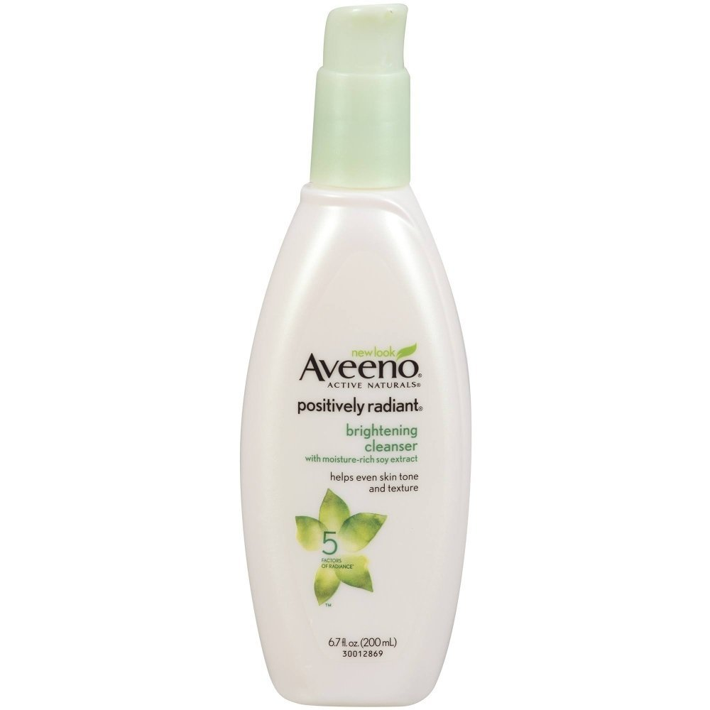 Aveeno Positively Radiant Brightening Facial Cleanser for Sensitive Skin, Non-Comedogenic, Oil-Free, Soap-Free & Hypoallergenic, 6.7 fl. oz (Pack of 6)