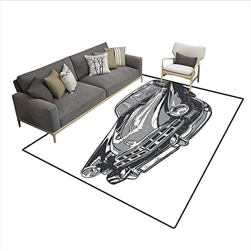 Floor Mat,Hand Drawn Vintage Vehicle with Detailed Front Part Hood Lamps Rear View Mirror,Area Carpet,Grey Blue Grey ()