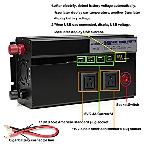 2000W Car Power Inverter 12V DC to 110V AC Latest Digital Display Design with 2 AC Outlets & 4 USB Charging Ports 2018 Newest Design - 2 Year Warranty