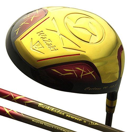 wazaki Japan Gold Finish Cyclone II Driver Golf Club+Headcover(10.5 Degree Loft,Close Face Angle,Right Handed,Pro Regular Flex,260 CPM) by wazaki