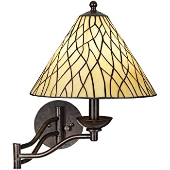 Tiffany Style Glass Panel Plug In Swing Arm Wall Lamp
