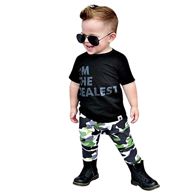 0a5fb11570e1 Minisoya Infant Kids Toddler Baby Boys Summer Short Sleeve Letters T-Shirt  Tops Camouflage Pants