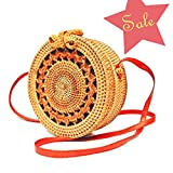 Handwoven Round Rattan Bag for women | Handmade Rattan Purse | Bohemian Shoulder Bag | Crossbody Straw Handbag (D: 7.9 in (L), Sunflower)