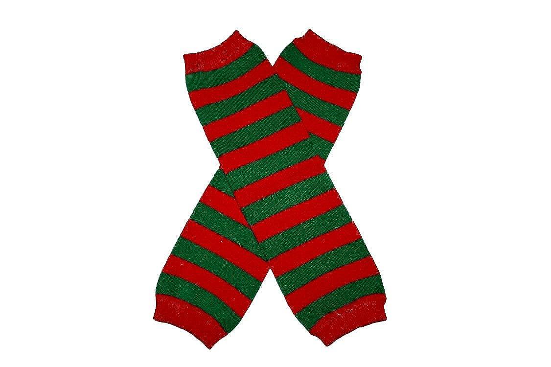 RED & GREEN STRIPES (CHRISTMAS) - Baby Leggings Leg Warmer