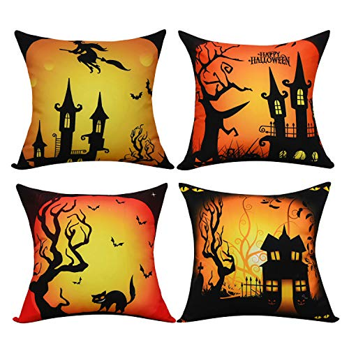 BLEUM CADE Halloween Theme Pillow Covers Halloween Cat and Castle Throw Pillow Case Daily Decorations Sofa Throw Pillow Case Cushion Covers Zippered Pillowcase