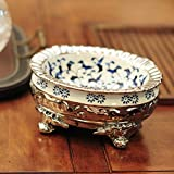 WAWZJ Ashtray Silver Plated Green Flower Ceramic Key Hand Adornment Box Dry Fruit Dish Adornment Ashtray,Ellipse