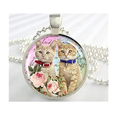 Gato arte collar, gato Collage joyas, hermana gatos collar ...
