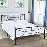 DIKAPA Queen Size Bed Frame &Base/Metal Platform Mattress Foundation/Box Spring Replacement with Headboard (Queen) Deluxe Crystal Ball Stylish