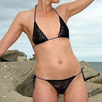 2f054e93a8db Amazon.com: Crochet Bikini Set Women Sexy Micro Mini Bikini Set Black  Lingerie Set Thong G-String Bra New Handmade Crochet Swimwear 2019: Clothing
