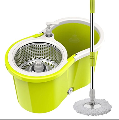 WanBen Microfiber Spining Magic Spin Mop Thickened bucket 4 Heads Rotating 360° Easy Floor Mop (black , Violet) (yellow without wheels)