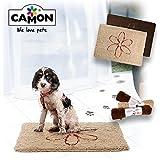 "Camon Walky Dog Dirty Dog Rug Extra Thick Microfiber Dog Pet Doormat Anti Slip Backing Super Absorbent (Tan, L 35.5"" x 26"")"