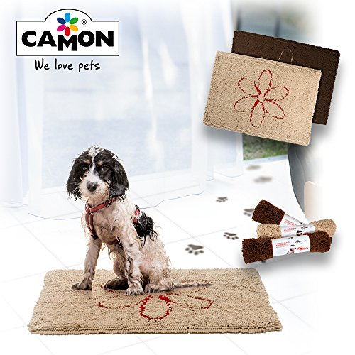 Dog Dog Bowl Gone - Walky Dog -Camon Walky Dog Dirty Dog Rug Microfiber Extra Thick Dog Pet Doormat Anti Slip Backing Super Absorbent (Chocolate, L 35.5