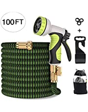 MODAR Garden Hose, Flexible Expandable Anti-leakage Lightweight Hose with Solid Brass Fittings 9 Function Spray Nozzle