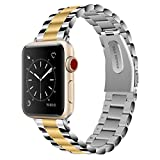 Vigoss Compatible Apple Watch Bands 42mm Men, [Upgrade] Polished & Brushed Solid Stainless Steel iWatch Band Metal Strap Business Replacement Bracelet Apple Watch Series 3/2/1 Sport (Silver/Gold, 42)