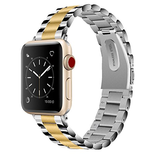 Vigoss Compatible Apple Watch Bands 42mm Men, [Upgrade] Polished & Brushed Solid Stainless Steel iWatch Band Metal Strap Business Replacement Bracelet Apple Watch Series 3/2/1 Sport (Silver/Gold, 42) by VIGOSS
