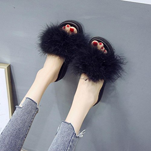 Été DéContracté Soldes Flats Chaussures Casual Hiver en Fausse Overdose à Plates Enfiler Sandales Noir Duveteuses Mules Fourrure Femme wqXa6CznR
