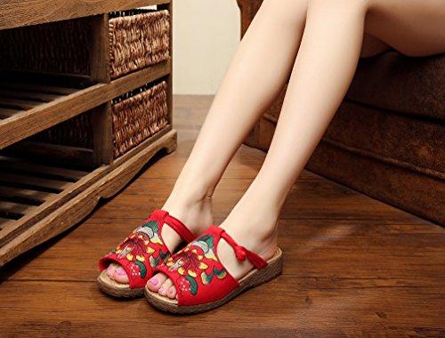 Ausom Womens Etnische Stijl Dikke Hakken Pantoffels Borduren Backless Slip Op Loafer Schoenen Rood