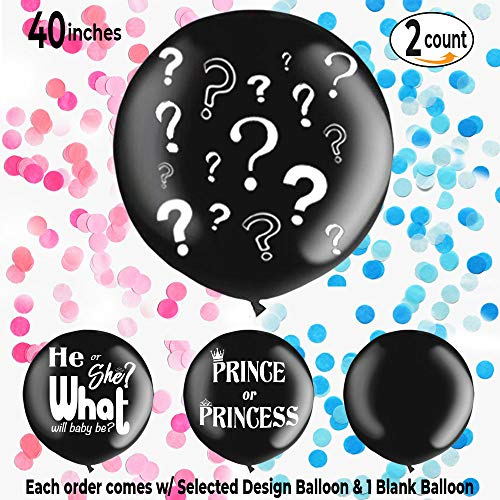 """Curious Stork Multiple Designs: Two - Giant 40"""" Black Gender Reveal Balloons w/ Pink & Blue Confetti. Makes for a Huge Surprise! 1 Blank and 1 Printed Balloon Included. (Question Marks)"""