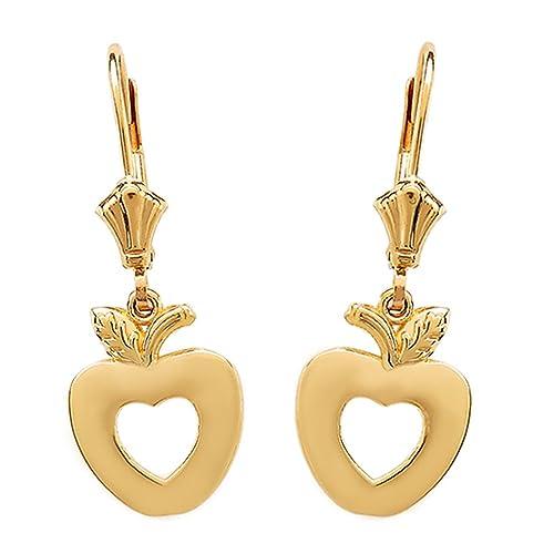 14k Rose Gold Cutout Open Heart Cross Drop Dangle Leverback Earrings
