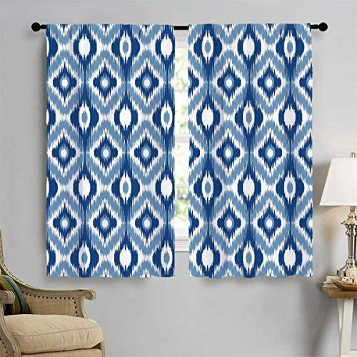 (Ikat Customized Curtains Ethnic Ikat Design with Regular Multi-Shaft Loom Uneven Twill Trend Motif Blackout Window Curtain 72