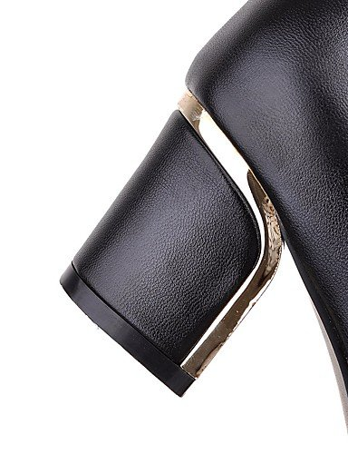 XZZ/ Damenschuhe-Stiefel-Büro / Kleid / Lässig-Kunstleder-Blockabsatz-Rundeschuh / Modische Stiefel-Schwarz / Weiß black-us9 / eu40 / uk7 / cn41