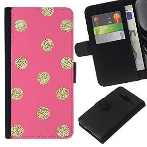 Patrón Oro Peach Lunares- la tarjeta de Crédito Slots PU Funda de cuero Monedero caso cubierta de piel Para Samsung Galaxy Core Prime