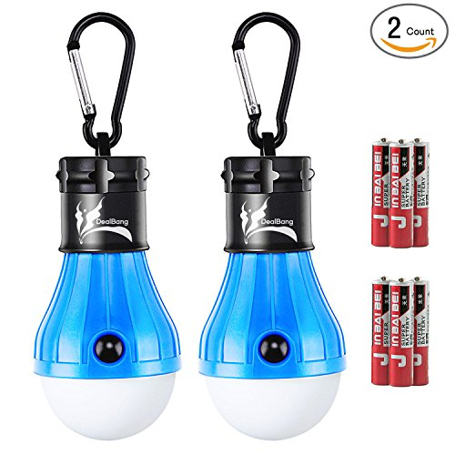 DealBang Compact LED Camping Light Bulb with Clip Hooks (Battery Included), 150 Lumens LED Hanging Tent Light, Battery Operated Gear LED Light Bulb for Outdoor/Indoor Illumination (Blue,2-Pcs)