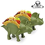 """2 Triceratops Taco Holders, Pair Dinosaur Taco Holder Set Perfect Gift, Double-Slotted Dino Taco Holders for Kids 10 x 5.5"""" Food Safe Quality Taco Plates with Fun Meal-Time"""