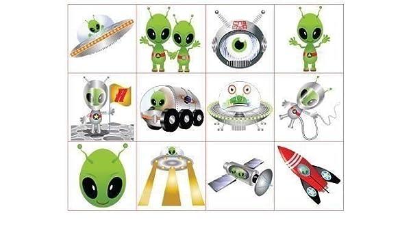 Henbrandt 2 x 48 Tatuajes de Alien para niños: Amazon.es: Juguetes ...