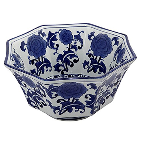A&B Home 10.5-Inch Ren Blue and White Centerpiece Bowl by A&B Home