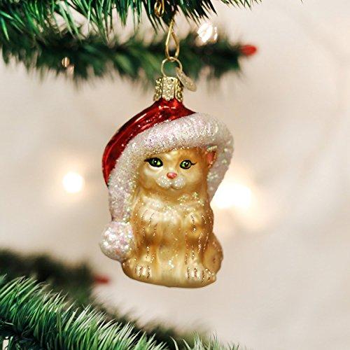 Glass Hat Ornament Santa (Old World Christmas Ornaments: Santa's Kitten Glass Blown Ornaments for Christmas Tree)