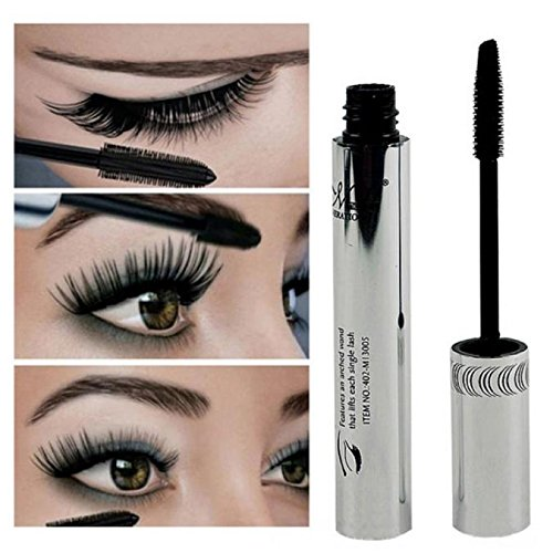Han Shi Waterproof Mascara, Natural Eye Lashes Makeup Long Curling Eyelash Brush (Black, L)