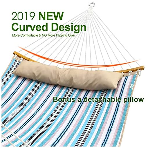 Garden and Outdoor Ohuhu Double Hammock Quilted Fabric Swing with Strong Curved-Bar Bamboo & Detachable Pillow, 55″x75″ Large Hammocks with Carrying Bag, 4.6'W x 6.2'L, Blue & White Stripe hammocks