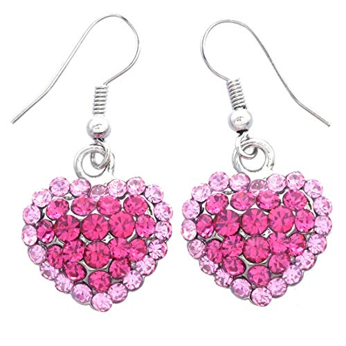 Valentine's Day Red Heart Earrings Love Be Mine Dangle Hook Style Paved Rhinestone Fashion Jewelry (Two Tone Pink) (Mine Be Valentine)