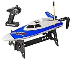 """The Top Race RC Boat Remote Control Racing Water Speed Boat   ATTENTION: This rc boat will be in """"BLUE"""" color and will run on a 27Mhz Frequency. For racing you need to purchase 1 of these and 1 of the TR-800B """"RED"""" boats which runs on 49Mhz F..."""