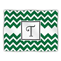 Kess InHouse KESS Original 'Monogram Chevron Green Letter T' Dog Blanket, 40 by 30-Inch