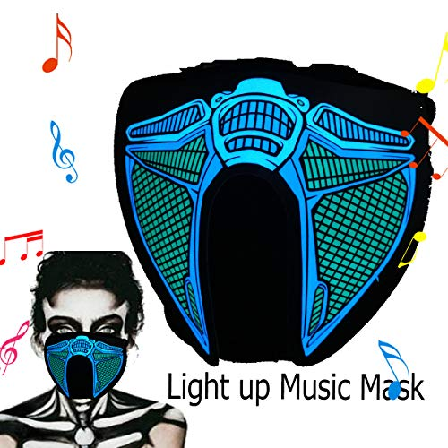ShineWorld Led Light up El Music Rave Face Halloween Party Sound Active Glow Noen Custome DJ Funny Hiphop Mardi Gras Guy Fawks Masquerade Flash Men Mask for Dancing,Riding,Skating,Party&Festival