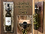 WINE BOTTLE LED LAMP WALL SCONCE with 6 hr timer ~Antique White or Red Wood for lighted bottle stopper (bottle NOT INCLUDED) Display a sentimental wine bottle from a special occasion! Wedding Gift