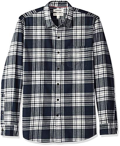 Goodthreads Men's Standard-Fit Long-Sleeve Brushed Flannel Shirt, Navy White Plaid, X-Large ()