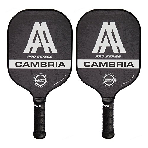 Amazin Aces Cambria Pickleball Paddles | USAPA Approved | Composite Rackets - Advanced Polymer Core with Polycarbonate Face & Premium Gamma Grip | Set Made in The USA | (Black Set)