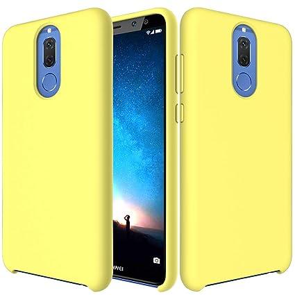 CoverTpu Funda Huawei Mate 10 Lite Silicona, Amarillo Funda Líquido de Silicona Gel TPU Flexible, Carcasa para Huawei Mate 10 Lite Anti-Rasguño y ...