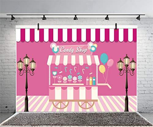 Leyiyi 9x6ft Candy Shop Photography Background Sweet Cart Pink and White Stripes Ballons Lollipop Candy Cane Icecream Street Light Backdrop Kids Birthday Wedding Party Photo Portrait Vinyl Studio Prop ()