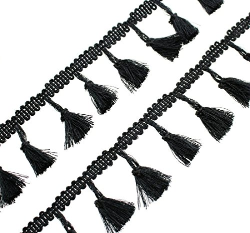 Tassel Fringe.QianCraftKits Tassels Lace Trim Polyester Fabric Ribbon for Women Dress, Cloth,Bags,Curtain, Home Decor and Other DIY Craft - Black Fabric Tassel