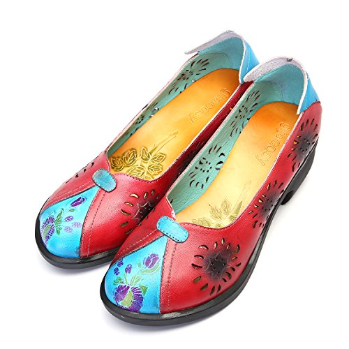 Sandals Womens Spilicing Pattern Sole Party Shoes Toe Wedge Casual gracosy Outdoor Walking Handmade Soft Summer Mary Pumps Heel Red Jane Round Shoes Retro Mid Work Shoes Ladies Leather Court qdnF6w