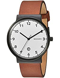 Skagen Men's 'Ancher' Quartz Stainless Steel and Leather Automatic Watch, Color:Brown (Model: SKW6297)