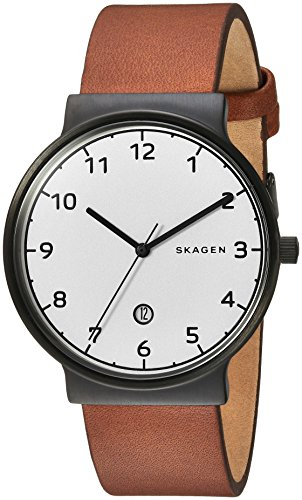 (Skagen Men's Ancher Quartz Stainless Steel and Leather Casual Watch, Color: Black, Brown (Model: SKW6297))