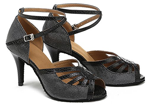 M Women's Toe Heel Buckle US Glitter Black Dance Honeystore Latin Metal Wedding B Party Peep Shoes Stiletto 7 Shoes Tn1dxtw8qt