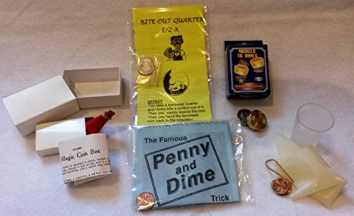 (Bite Out Quarter, Dime and Penny, Nickles to Dimes, Find the Hole, and Magic Coin Box - Money Coin Magic Bundle)