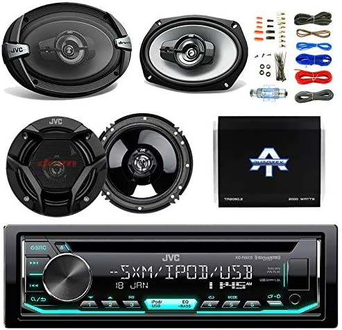 JVC CD MP3 AM FM Radio Player Car Receiver Bundle Combo with 2x JVC 300W 6.5 2-Way Car Audio Speakers, 2 x 6×9 3-Way Stereo Speaker, 1600 Watt Class A B Amplifier, Boss 8gauge amp Install Kit